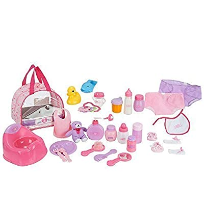 You & Me 30 Piece Baby Doll Care Accessories in Bag by You & Me Educational Products