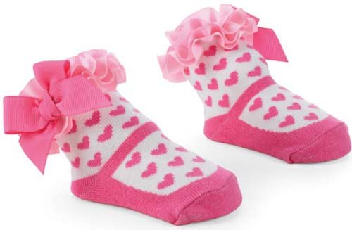 Mud Pie Newborn Baby-Girls Girl Pink Hearts On Socks, Pink/White, 0-12 Months