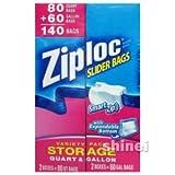 【Ziploc】ジップロック スライダーバッグ 140枚(クオート 80枚、ガロン 60枚)