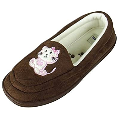 Ladies Moccasin Cat Slipper Warm Luxury Moccasins Slippers Womens Size UK 8