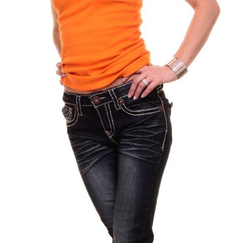 Jeans mit breiter Naht, Designer Low Cut Jeans, Five Poket, dunkelblau ...