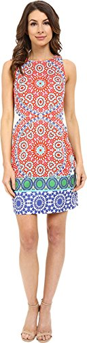 London Times Women's Flower Tile Sleeve Sleeveless Shift Soft White/Orange Dress 6