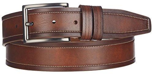 Boca Classics Mens Brown Stitch Leather Belt 44 Cognac brown
