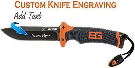 Custom Laser Engraved Gerber Bear Grylls Ultimate Knife Fine Edge Knife