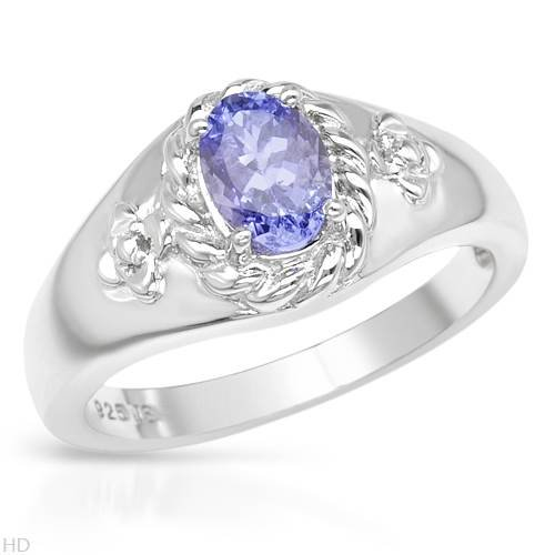 Sterling Silver 0.9 CTW Tanzanite Ladies Ring. Ring Size 7. Total Item weight 4.6 g.