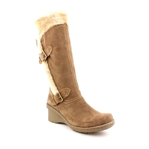 bare traps cathy womens winter wedge heel boot shoe taupe