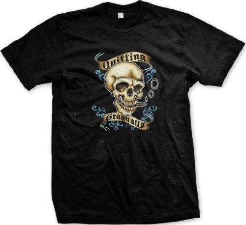 Quitting Gradually Mens Tattoo T-Shirt, Skull Smoking Tattoo Style Design Mens Shirt, Xxx-Large, Black
