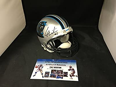 Cam Newton Signed Autographed Carolina Panthers Mini Helmet With 8 Custom Decals Salute To Service Ribbon and US Army Decal Added GTSM Personal Player Hologram & COA