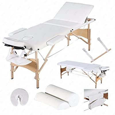 Portable Massage Table Facial Spa Bed Sheet 3 Fold + (2 Bolster+Cradle+Hanger) White