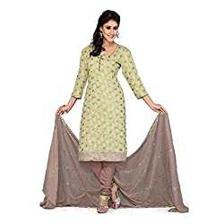 S.V.G. Suit Material With Sequined Work - (Mahendi)