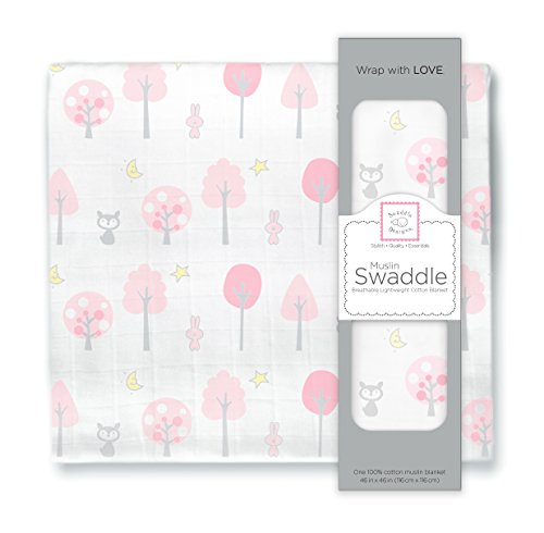 SwaddleDesigns Muslin Swaddle Blanket, Pink Thicket, Pink