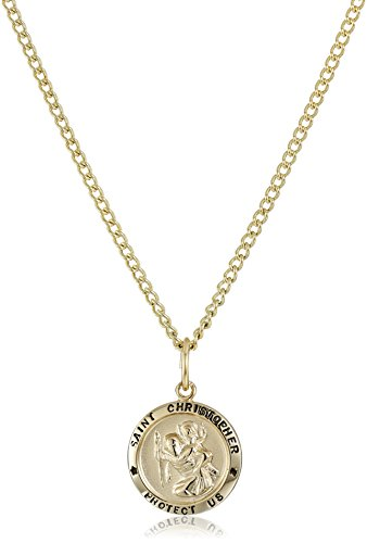 14k Gold-Filled Small Round Saint Christopher Pendant Necklace with Stainless Steel Chain (St Christopher Medal Gold compare prices)