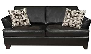 $ SALE Simmons Urban Black Soft Leather Full Size Sofa Sleeper wages3052