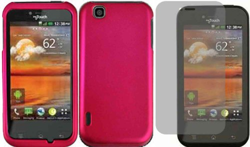 Rose Pink Hard Case Cover+LCD Screen Protector for T-Mobile Mytouch LG Maxx Touch E739
