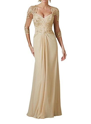 Luokadress Women's Champagne Lace Beaded Evening Mother Of The Bride Dress