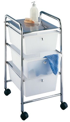 Household and Bath Cart, Model Messina, 3 storage drawers white