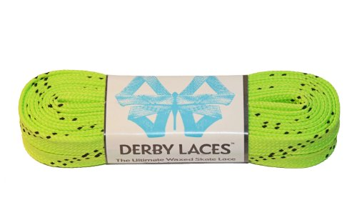 Lime Green 96 Inch Waxed Skate Lace - Derby Laces for Roller Derby, Hockey and Ice Skates, and Boots