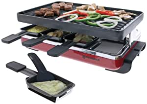 Swissmar KF-77046 8-Person Raclette with Reversible Cast Iron Grill Plate (Red)