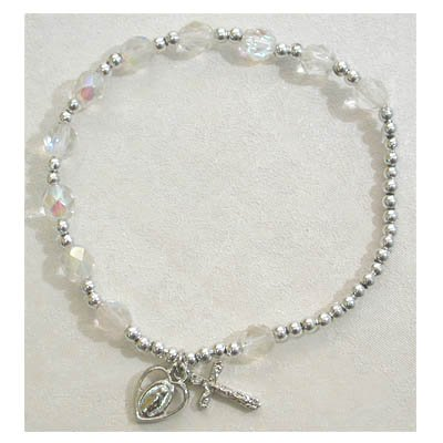 Adult Womens Stretch Rosary Bracelet Birthstone Crystal April.