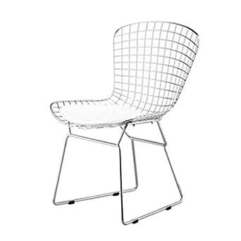 Designer Modern Bertoia Style Wire Side Chair In White