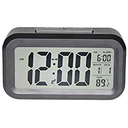 Gloue Digital Alarm Clock Battery Operated- Bedroom Clock- Temperature Display- Snooze and Large Display- Smart Night Light(white Backlight)- Battery Operated Alarm Clock and Home Alarm Clock.(black)