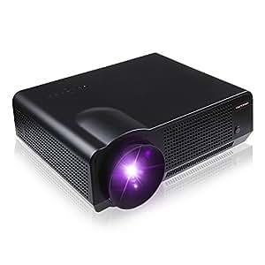 DBPOWER Videoprojecteur avec Télécommande, 1280 * 768, 2800 Lumens Luminosité, Contraste: 2000: 1, avec une interface VGA/HDMI/AV, le soutien USB et SD Card Direct Play