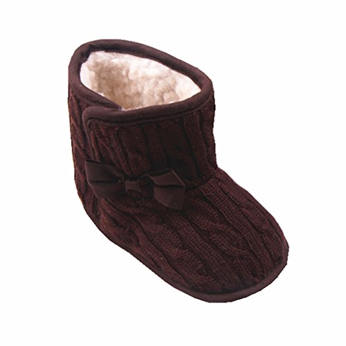 Zerowin Baby Toddler Girls Fleece Woollen Fur Knitted Bowknot Snow Boots Warm Winter Soft Shoes (12-18 Months, Coffee)