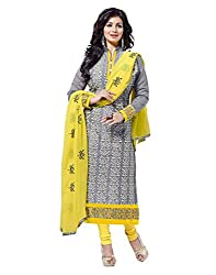 Surat Tex Grey Color Party Wear Embroidered Chanderi Un-Stitched Dress Material-H971DL9404
