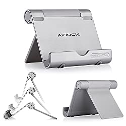 Aibocn® Universal Portable and Adjustable Tablet Cell Phone Stand Holder with Multi-Angle Durable Aluminum Body, Compatible with Apple iPad Air/4/3, iPad Mini/Mini Retina, iPhone 5/5S/5C/4S, Samsung Galaxy Tab 2 Tab 3 Note 8.0 Note 10.1, Galaxy S5 S4 S3 N