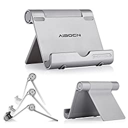 Aibocn Upgraded Multi-Angle Aluminum Stand for Tablets Smartphones and E-readers Compatible With Apple iPhone iPad Air iPod Samsung Galaxy / Tab HTC Google Nexus LG OnePlus and More, Silver