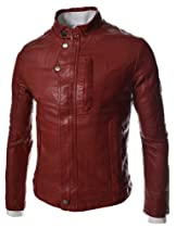 (JK709) TheLees Mens Casual Slim Fit Rider Style Faux Leather Jacket RED XX-Large(US Large)