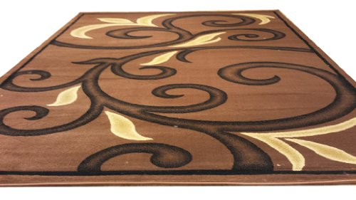 D612 Contemporary Modern Transitional Branch Leaves Design Brown 5x8 Actual Size 5'3x7'2 Rug