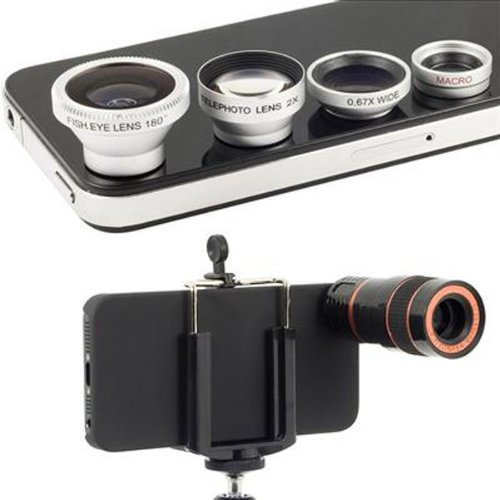 4 In 1 Lens Kit Microspur Fisheye 8X Telescope For iPhone 4 4S