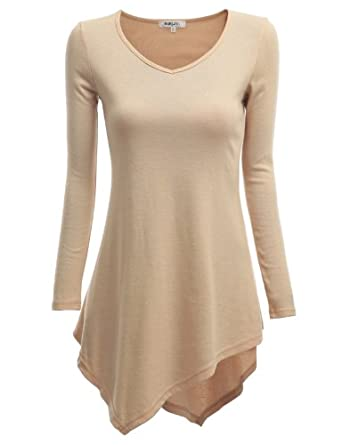 Doublju Knit Tunics with Unbalanced Hem BEIGE (US-S)