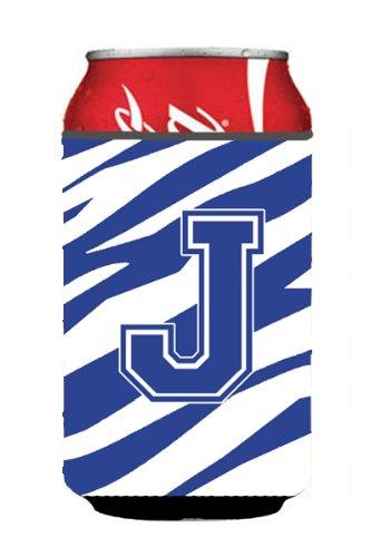 Initial Monogram-Lettera J, motivo a righe, colore: blu e bianco o in bottiglia Koozie Hugger