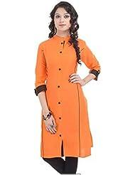 Ethnic For You Women's Orange Cotton Plain Full Stiched Kurti (Size : XL)