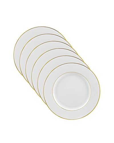 10 Strawberry Street Set of 6 Double Gold Line 9 Luncheon Plates