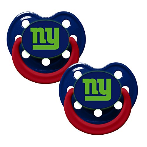 New York Giants Glow in Dark 2-Pack Baby Pacifier Set - NFL Infant Pacifiers