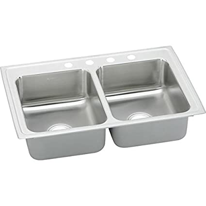 "Elkay PSRQ33194 Pacemaker 20 Gauge Stainless Steel Double Bowl Top Mount Quick-Clip Kitchen Sink with 4 Faucet Holes, 33"" x 19.5"" x 7.125"""
