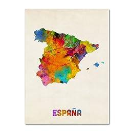 Trademark Fine Art Spain Watercolor Map Artwork by Michael Tompsett, 24 by 32-Inch