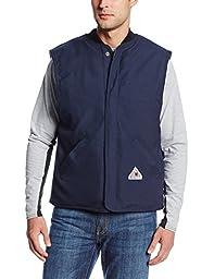 Bulwark Flame Resistant 4.5 oz Nomex IIIA Regular Vest Jacket Liner with Rib-Knit Collar, Navy, 3X-Large