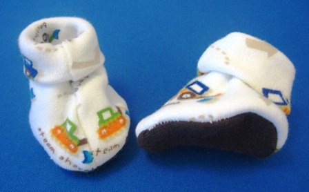 Steam Shovel Booties, Micro Preemie 0-3 lbs