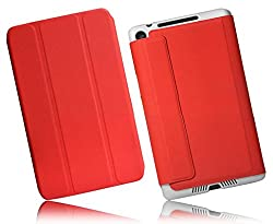 SPL Folio PU Leather Stand Book Cover for Google Nexus 7 2013 Tablet (Red)
