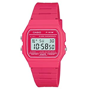 Casio F91WC-4A Unisex Classic Chronograph Alarm LCD Digital Watch (Pink)