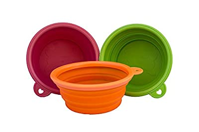Planet Petz Original - Set of 2 Silicone Expandable/Collapsible Travel Bowls On The Go - Size 14 Oz/1.75 Cups