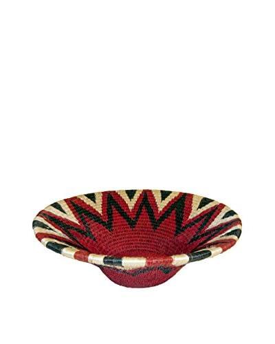 Asian Loft Large Red Hand-Woven Lutindzi Grass Wicker Bowl, Red/Beige/Black
