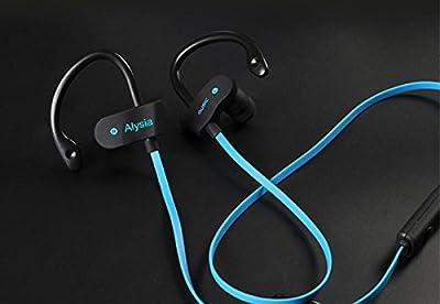 Bluetooth Headsets - Alysia® Hang Clip-on Earphones V4.1 Bass Wireless Earbuds Lightweight Noise Cancelling Headphones Mini Secure In Ear Hooks Sports Earphones APT-X Stereo Headset w/ Mic Dual Battery