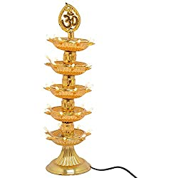 5 Layer - Electric Gold Diya/Deepak Rice Light Bulb Lamp for Pooja/Puja