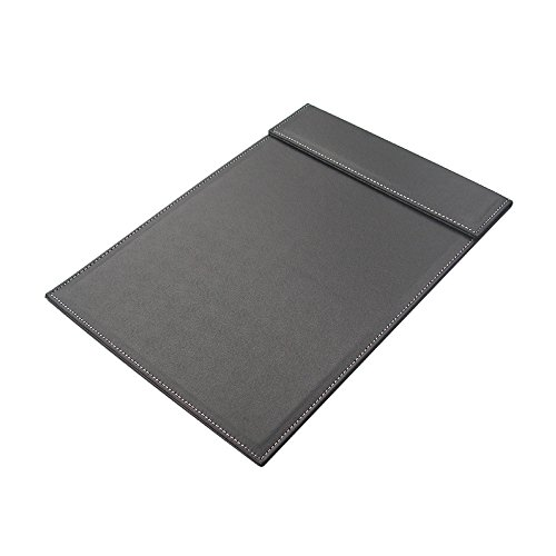 Kingfom™ A4 Leather Office Desk File Paper Clip Drawing & Writing Board Pad Tablet File Folder With Paper Clip Black (#A042)