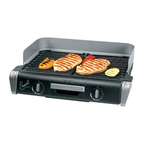 Emeril by T-fal TG8000002 XL Griller with Two Independent Temperature Controls Removable Nonstick Die-Cast Aluminum Grill Plates, Silver